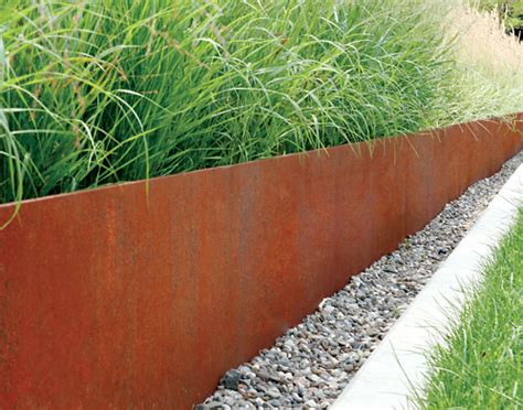 Corten Steel Planter by Corten Steel Planter Retaining Wall Planted With