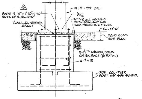 section of column column footing detail houses plans designs