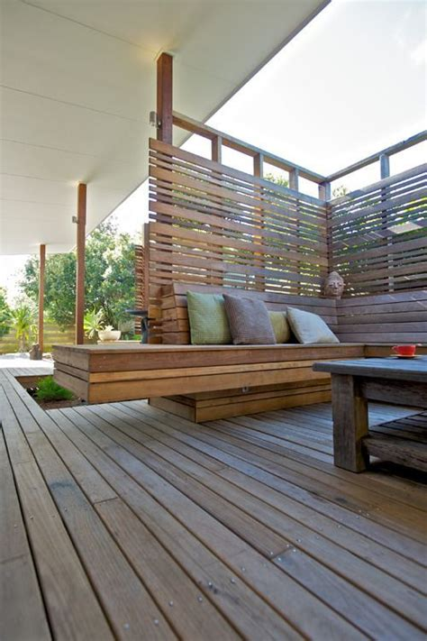 bench terrace design privacy screen and bench seats drought tolerant gardens