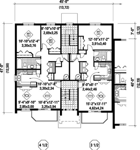 two family floor plans multi family plan 52425 at familyhomeplans com