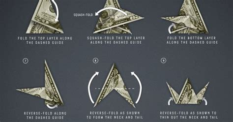 Money Origami Bird - how to fold a paper crane just like underwood