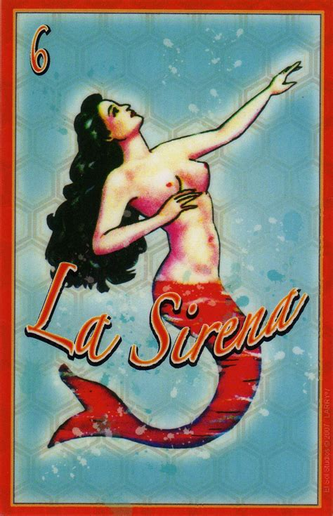 sirena la la sirena the mermaid mexican loteria fridge magnet by elsol