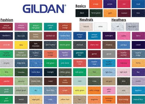 gildan colors gildan g500 color chart 2013