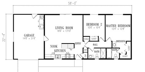 floor plan for a 940 sq ft ranch style home ranch style house plan 2 beds 2 baths 960 sq ft plan 1 131