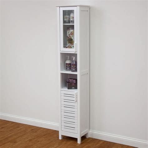 slim cupboard display cabinet white shelves storage