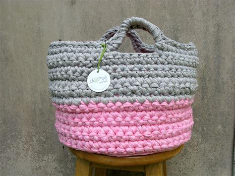 Chompa Handmade - pink grey crochet basket handmade chompa handmade