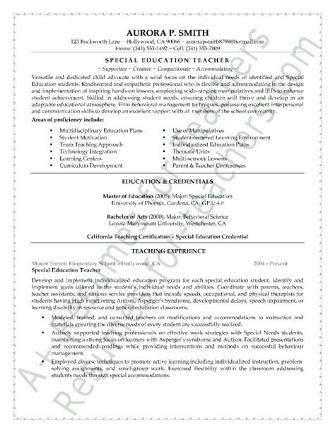 Special Education Resume by Special Education Resume Sle Classroom