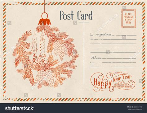 new year card postage backdrop postal card happy new year stock vector 232874413