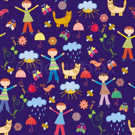 pattern cute illustrator cute seamless pattern with boy at the rain and nature