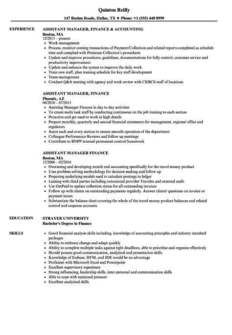 assistant finance manager resume format assistant manager finance resume sles velvet