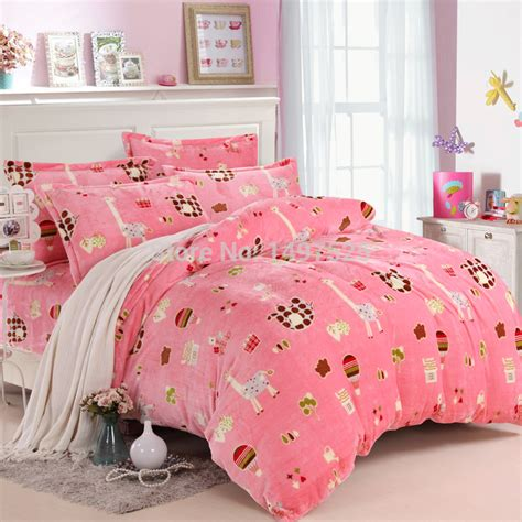 pink pattern sheet set pink pattern of the deer home textile flannel bedding set