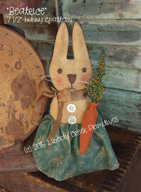 etsy rabbit pattern beatrice primitive bunny epattern instant download by