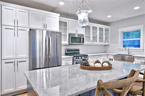 White And Grey Kitchen by Classic Gray And White Kitchen Craftsman Kitchen