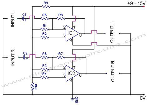 circuit drawing 741 stereo prelifier circuit diagram electronic circuits
