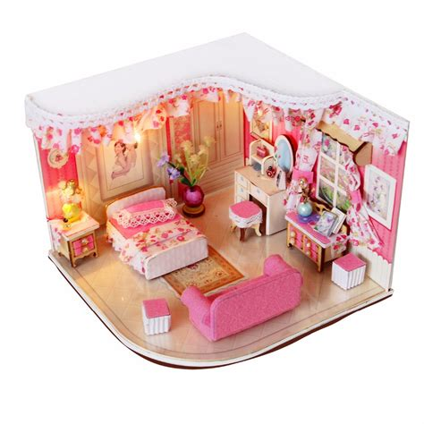 baby house wooden doll house lobby 3d puzzle baby room decoration pink blue red merry for girls