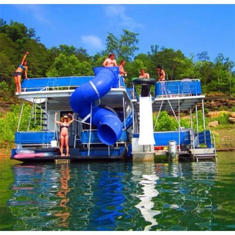 water boat house house boat with water slide hell yes just love it pinterest kid boats and