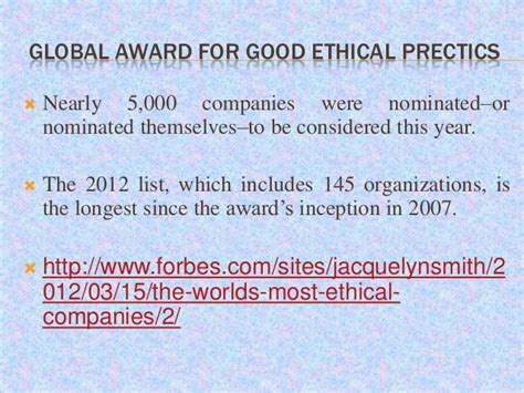 In Ethical Business Awards 2007 by Business Ethics Corporate Governance