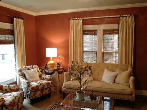 Terracotta Living Room Ideas by Silk Curtain Panels With Trim Leading Edge