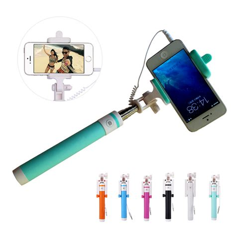 Monopod Oppo Mini Handheld Extendable Selfie Sick Wired Monopod Tripod Phone Holder Selfstick For