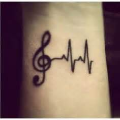 heartbeat dance tattoo music pulse notes clef frequency wave sound dance