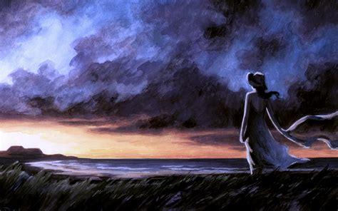 imagenes mujeres en soledad la puesta del sol mujer de la soledad de la playa fondos