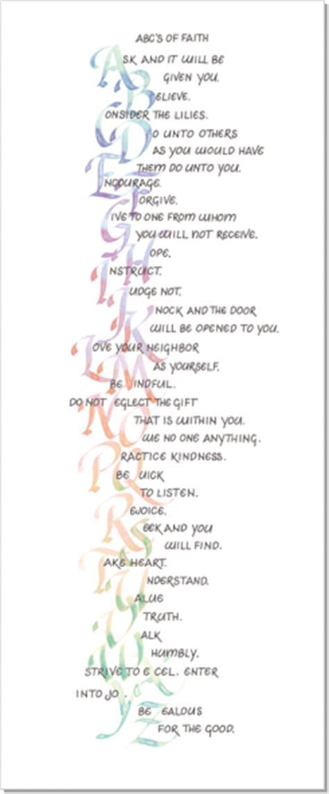 ABC's of Faith, Calligraphy Art Plaques, Inspirational Gifts