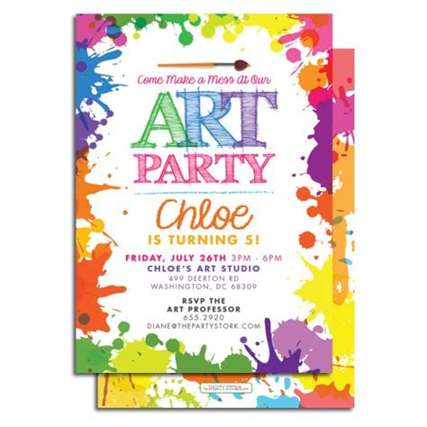 Free Printable Art Birthday Invitations | 7 best images of art party invitations printable paint