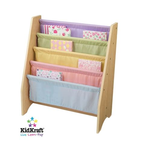 kidkraft pastel canvas sling book display bookshelf 14225