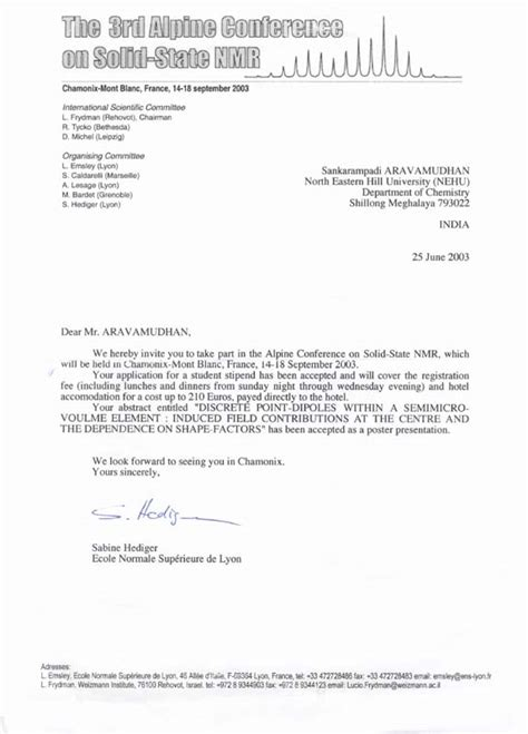 Abstract Acceptance Letter Sle Click Here To View A Fascimile Of The Letter Of Acceptance Of The Abstract Received At Nehu By