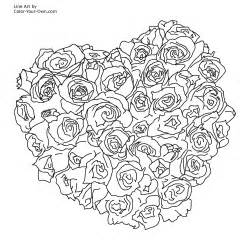 coloring pages for adults hearts of roses coloring page