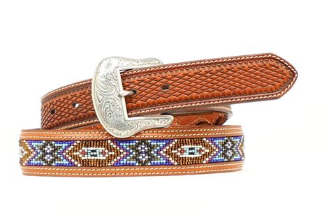 mens beaded belt nocona western mens belt leather tooled southwest beaded