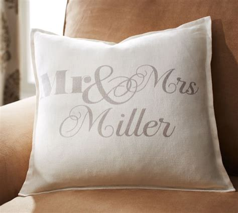 personalized mr mrs pillow cover pottery barn