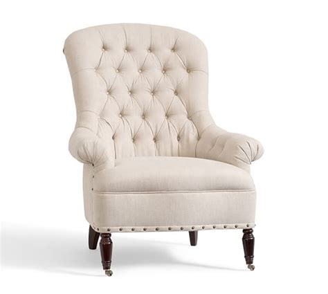 pottery barn armchairs radcliffe tufted upholstered armchair pottery barn