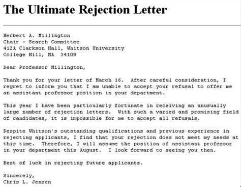 Decline Letter Due To Conflict Of Interest Funniest Rejection Letters Ever Theemployable