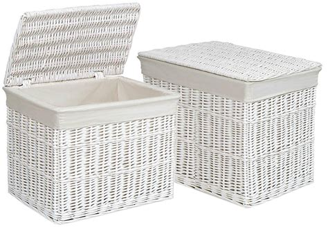 Usb002 Side By Side Cotton Storage Box Multi Fungsi Bahan Katun large medium rectangular white wicker trunk chest lid