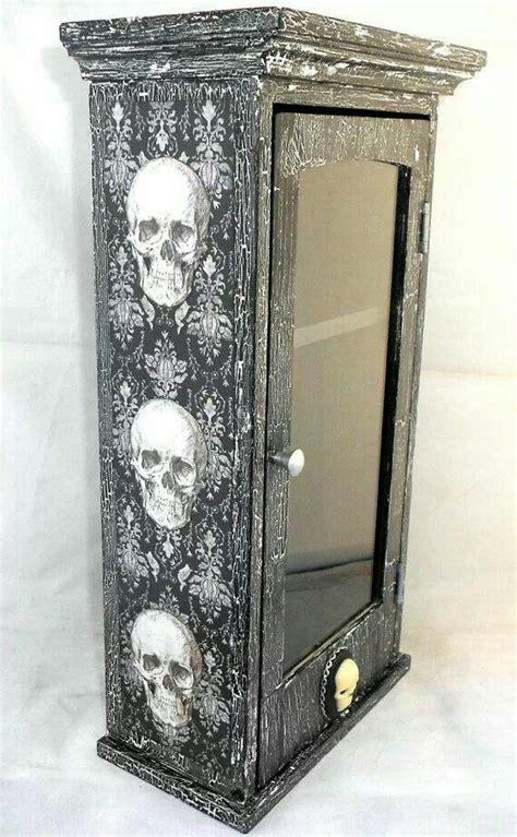skull home decorations skull medicine cabinet skull goth home decor pinterest