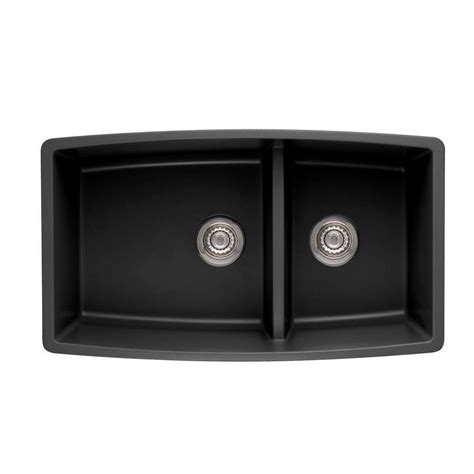 Shop Blanco Performa 19 In X 33 In Anthracite 2 Granite Blanco Granite Kitchen Sinks