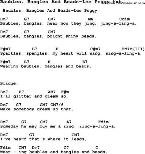 baubles bangles and lyrics jazz song baubles bangles and peggy with
