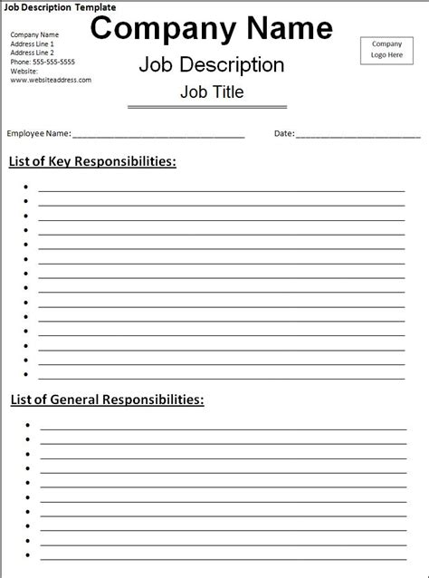 job description template free word templatesfree word