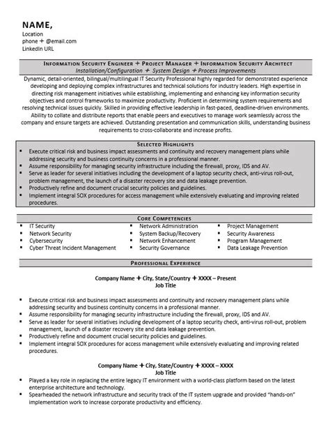 Cyber And Information Security Resume Exle And Tips Zipjob It Security Resume Template