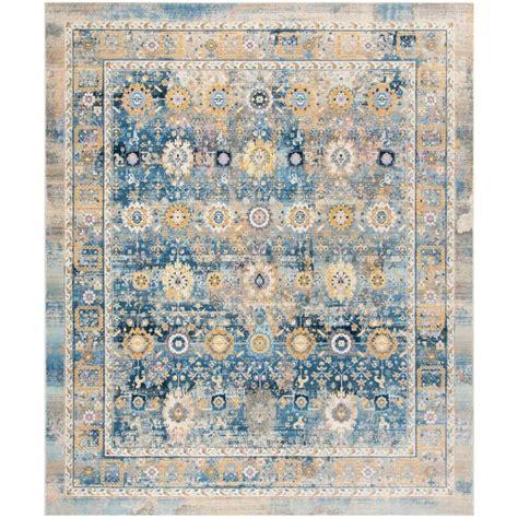 distressed area rug shop safavieh claremont chystie blue gold indoor distressed area rug common 8 x 10 actual 8