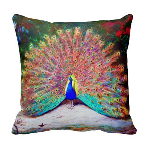 Painting Pillows by Vintage Peacock Painting Pillows Zazzle