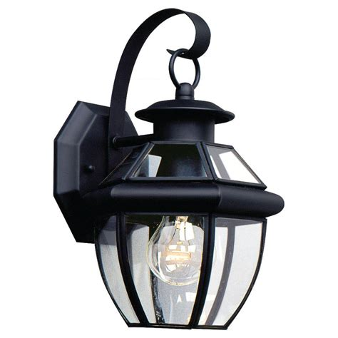 Seagull Outdoor Lighting Sea Gull Lighting Lancaster 1 Light Black Outdoor Wall Fixture 8037 12 The Home Depot