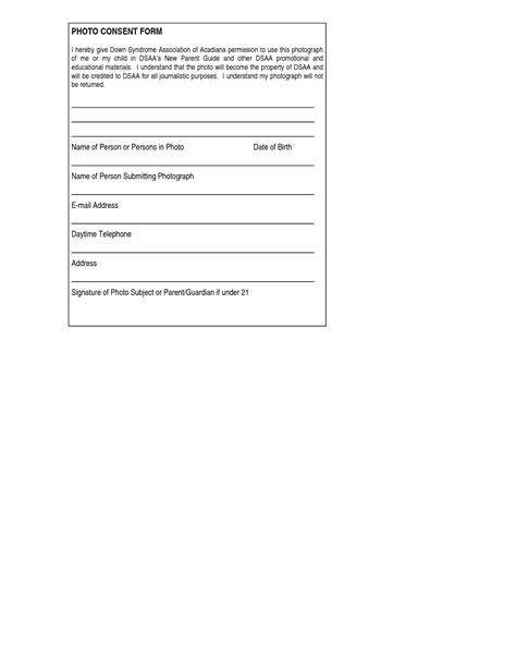 Photography Permission Form Template by Conferenceencyclopedia Disease