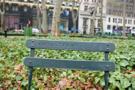 bench nyc bench bryant park nyc usa from all corners