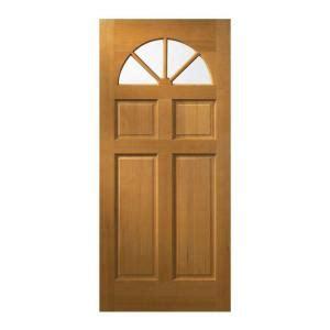 Unfinished Wood Exterior Doors Jeld Wen 32 In X 80 In Fan Lite Unfinished Wood Front Door Slab 5389 0 The Home Depot