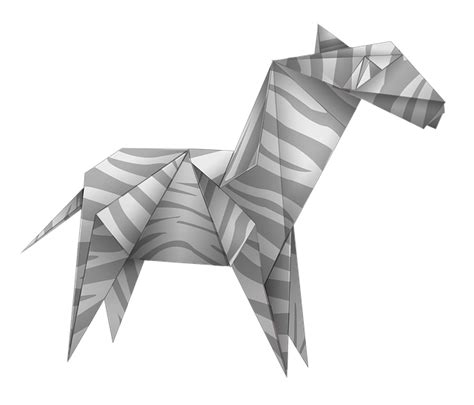 Make Paper Transparent - free illustration origami zebra black and white free
