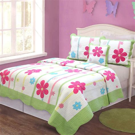 girls quilt bedding girl floral quilt bedding set kids twin size patchwork 100 cotton multi colored