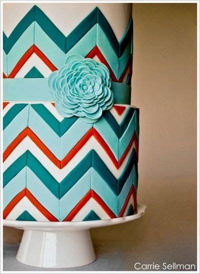 zig zag pattern on cake turquoise and red chevron wedding cake wedding cakes