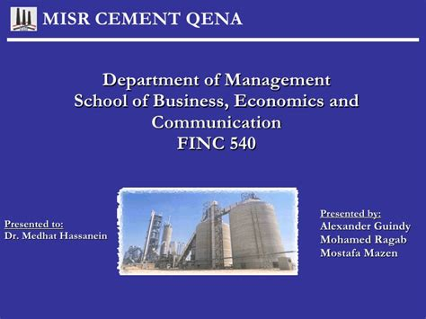 Department Of Business Economics Mba by Qena Cement